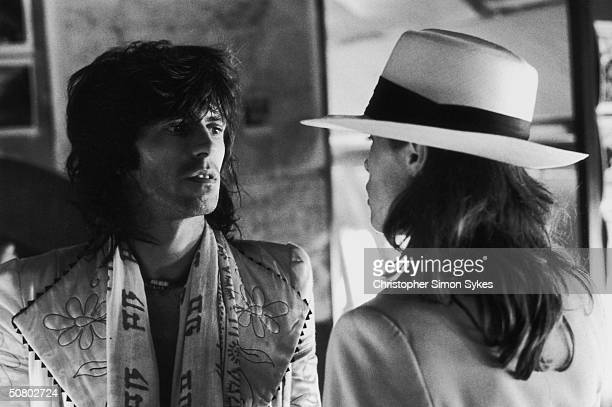 Guitarist Keith Richards with German actress Uschi Obermaier during the Rolling Stones Tour of the Americas 1975