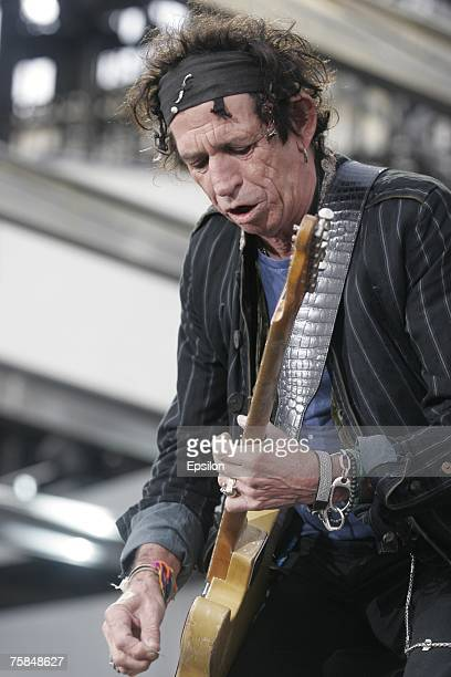 Guitarist Keith Richardsof The Rolling Stones performs on stage on July 28 2007 in St Petersburg Russia