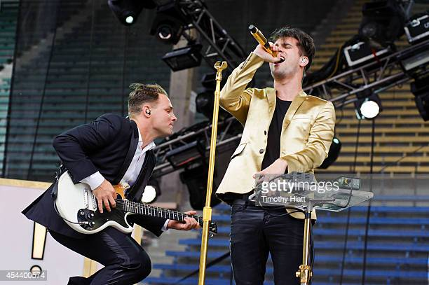 Guitarist Kenneth Harris and singer Brendon Urie of Panic At the Disco perform at the 2014 Bumbershoot Festival on August 30 2014 in Seattle...