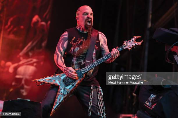 Guitarist Kerry King of American thrash metal group Slayer performing live on stage during Download Festival at Donington Park on June 16 2019