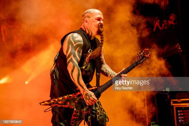 Guitarist Kerry King of Slayer using his BC Rich Signatre guitar performs on their final world tour at Northwell Health at Jones Beach Theater on...