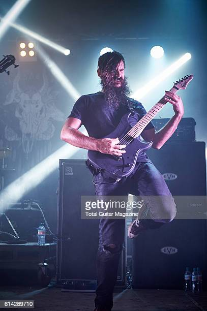 Guitarist Kevin Antreassian of American mathcore group Dillinger Escape Plan performing live on stage at ArcTanGent Festival in Somerset on August 21...