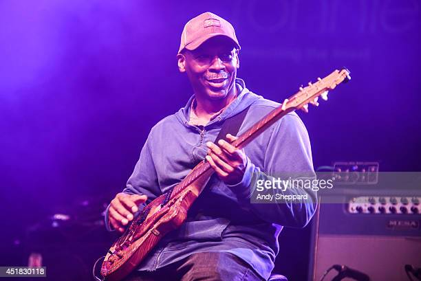 Guitarist Kevin Eubanks performs on stage with Dave Holland's Prism at Love Supreme Jazz Festival at Glynde Place on July 5 2014 in Lewes United...