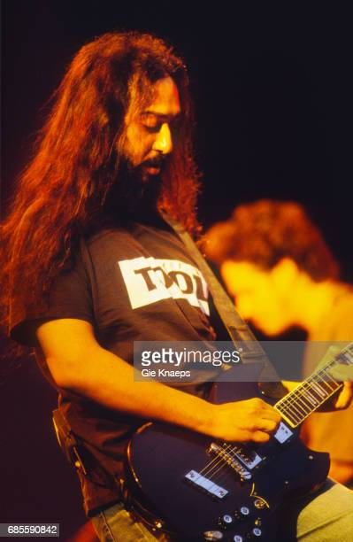 Guitarist Kim Thayil performing with American rock group Soundgarden at the Pukkelpop Festival Hasselt Belgium 26th August 1995 On the right is...