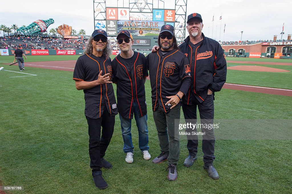 Guitarist Kirk Hammett (L) , drummer Lars Ulrich, bassist Robert Trujillo and vocalist James Hetfield (R) of Metallica pose for photos before peforming The National Anthem at AT&T Park on May 6, 2016 in San Francisco, California.