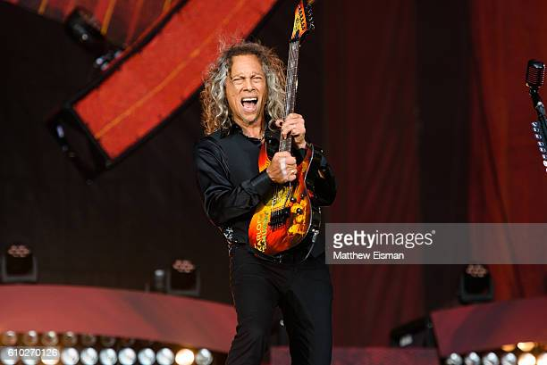 Guitarist Kirk Hammett of the band Metallica performs live on stage during Global Citizen Festival 2016 at Central Park on September 24, 2016 in New...