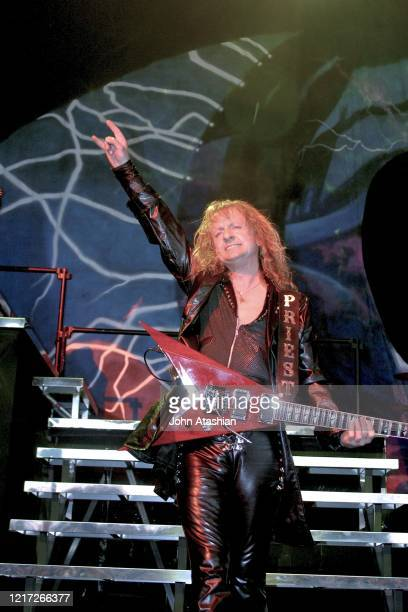 """Guitarist K.K. Downing is shown performing on stage during a """"live"""" concert appearance with Judas Priest on July 10, 2004."""