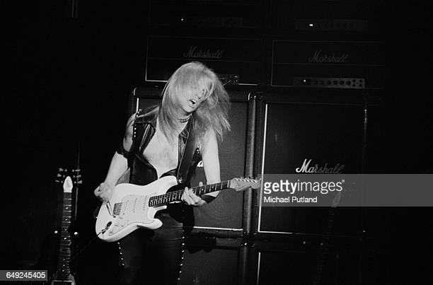 Guitarist KK Downing performing with British heavy metal group Judas Priest April 1979
