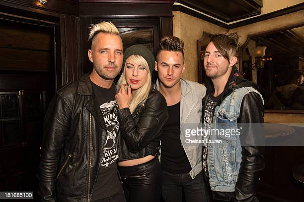 Guitarist Lamar Baptiste vocalist Anna Worstell producer Zach Hall and drummer Shane Wise of Five Knives attend the M83 PostShow Soiree At No Vacancy...