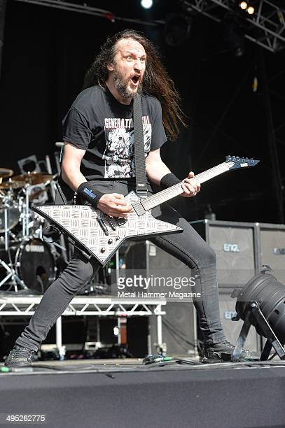 Guitarist Lee Altus of American thrash metal group Exodus performing live on stage at Bloodstock Open Air festival in Derbyshire England on August 11...