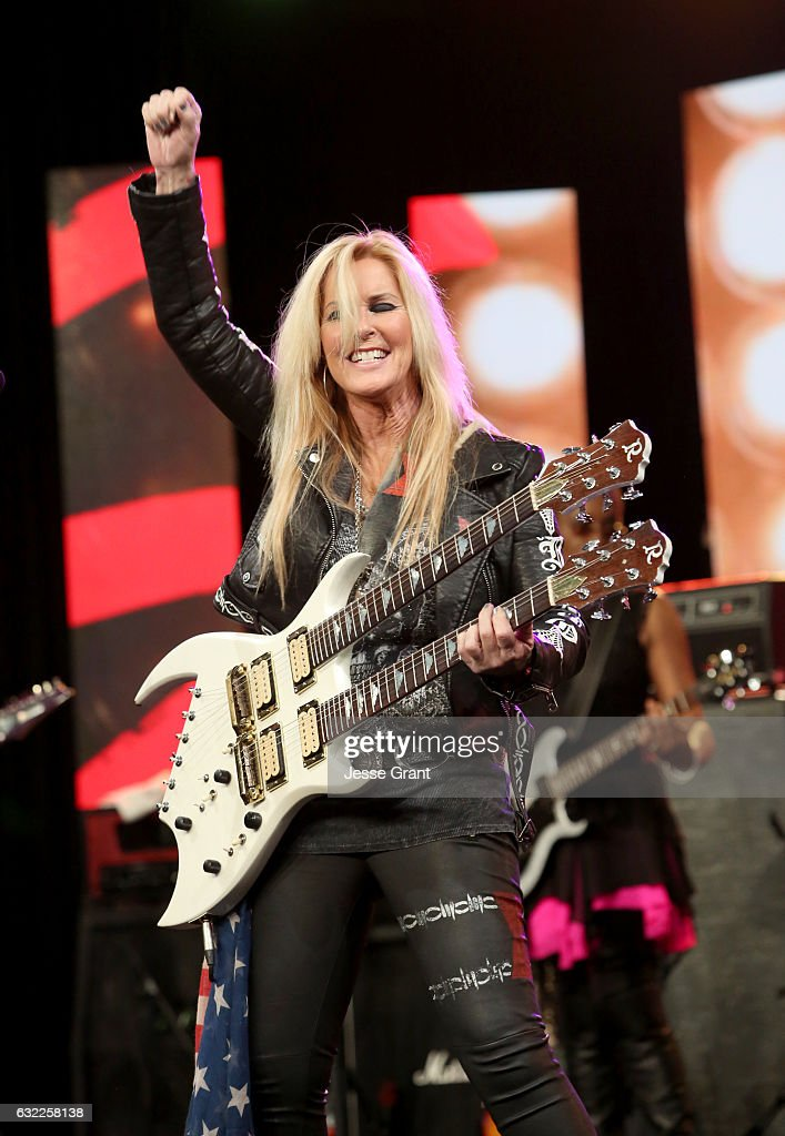Guitarist Lita Ford performs on stage at the She Rocks Awards during the 2017 NAMM Show at the Anaheim Convention Center on January 20, 2017 in Anaheim, California.