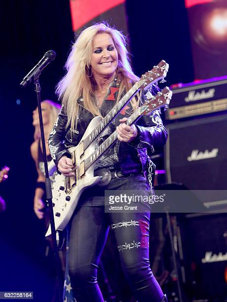 Guitarist Lita Ford performs on stage at the She Rocks Awards during the 2017 NAMM Show at the Anaheim Convention Center on January 20 2017 in...