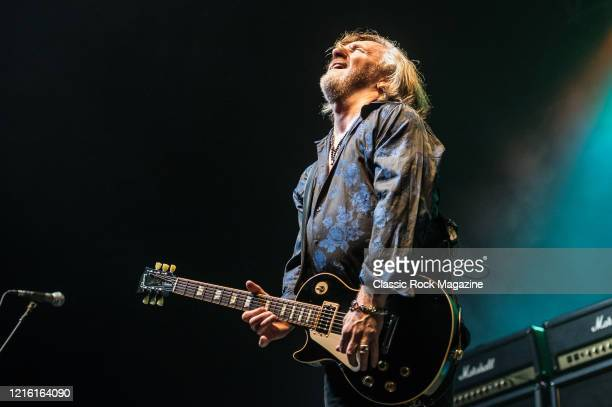 Guitarist Luke Morley of English hard rock group Thunder performing live on stage at Wembley Arena in London on June 24 2015