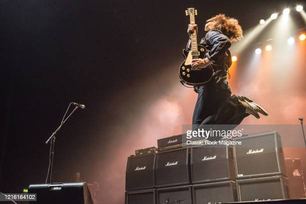 Guitarist Luke Morley of English hard rock group Thunder performing live on stage at Wembley Arena in London, on June 24, 2015.