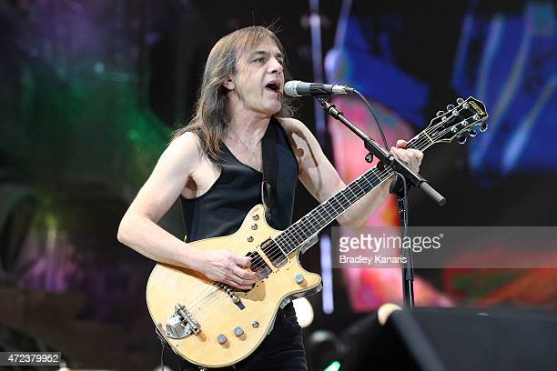 Guitarist Malcom Young of AC/DC performs live for fans at Queensland Sport and Athletics Centre on February 25 2010 in Brisbane Australia