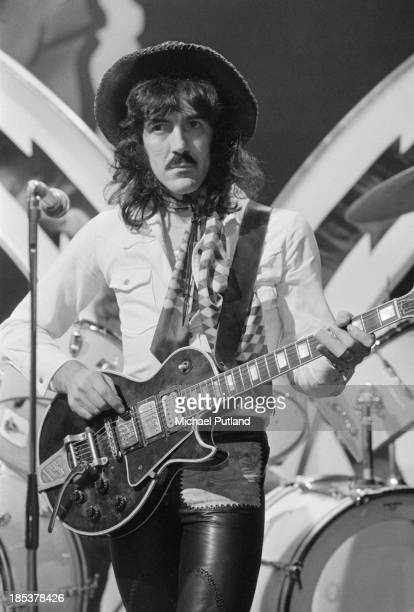 Guitarist Manny Charlton of Scottish rock group Nazareth on the BBC TV music show 'Top Of The Pops' London 8th November 1973 The band are miming to...