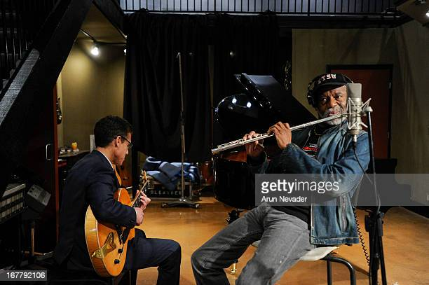 Guitarist Mark Hammond and flutist Hubert Laws record during the Kaylene Peoples My Man Recording Session with Hubert Laws at The Mouse House Studio...