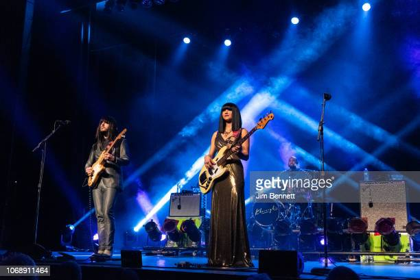 Guitarist Mark Speer bassist Laura Lee and drummer Donald Johnson of Khruangbin perform live on stage at the Moore Theatre on November 16 2018 in...