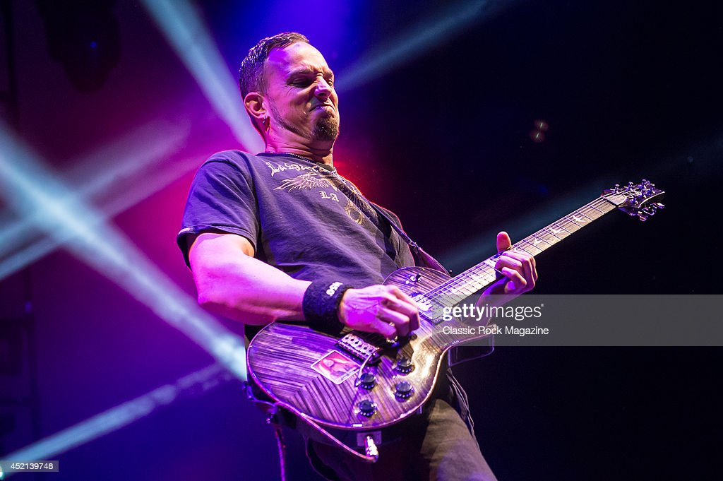 Guitarist Mark Tremonti of American rock group Alter Bridge performing live on stage at Wembley Arena in London, on October 18, 2013.