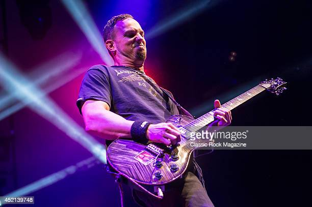 Guitarist Mark Tremonti of American rock group Alter Bridge performing live on stage at Wembley Arena in London on October 18 2013