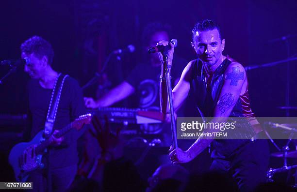 Guitarist Martin Gore and singer Dave Gahan of Depeche Mode perform at KROQ presents Depeche Mode at The Troubadour on April 26, 2013 in West...