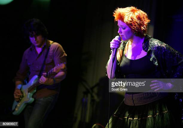 Guitarist Matt Slocum and singer Leigh Nash of Sixpence None the Richer perform at the Tribeca ASCAP Music Lounge held at the Canal Room during the...