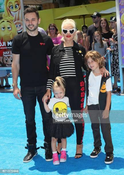 Guitarist Matthew Rutler daughter Summer Rain Rutler wife singer Christina Aguilera and her son Max Liron Bratman attend the premiere of Columbia...