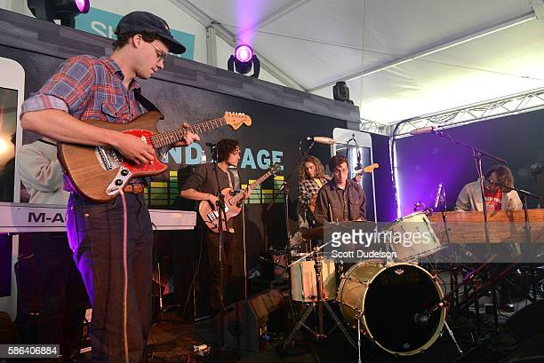 Guitarist Max Kakacek and drummer Julien Ehrlich of the band Whitney performs onstage during Outside Lands Festival at Golden Gate Park on August 5...
