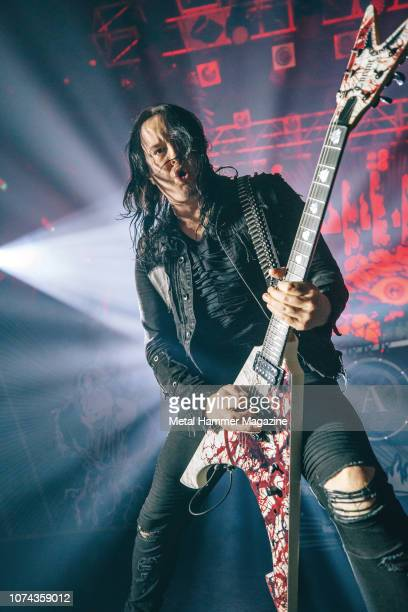 Guitarist Michael Amott of Swedish death metal group Arch Enemy performing live on stage at KOKO in London on February 28 2018