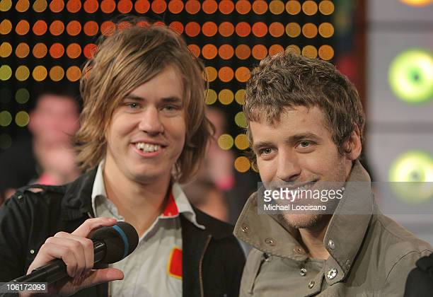 Guitarist Michael Guy Chislett and drummer Andy Mrotek of The Academy Is appear on MTV's TRL at MTV's Times Square Studios October 29 2007 in New...