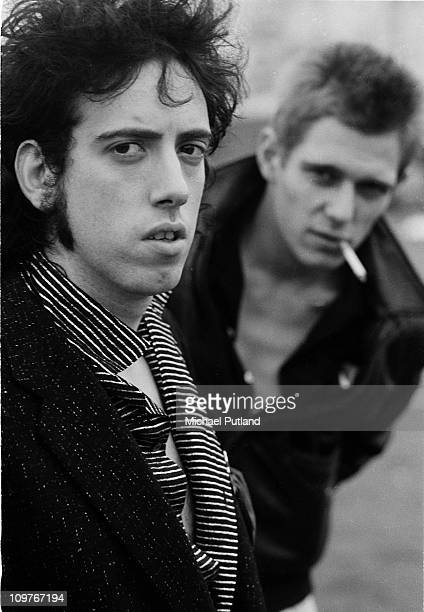 Guitarist Mick Jones and bassist Paul Simonon of British punk group The Clash in New York in 1978