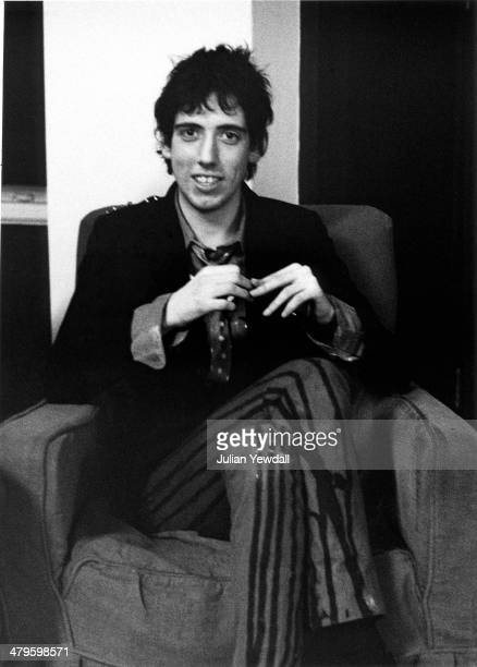 Guitarist Mick Jones British punk group The Clash backstage at a concert at the Royal College of Art London 5th November 1976