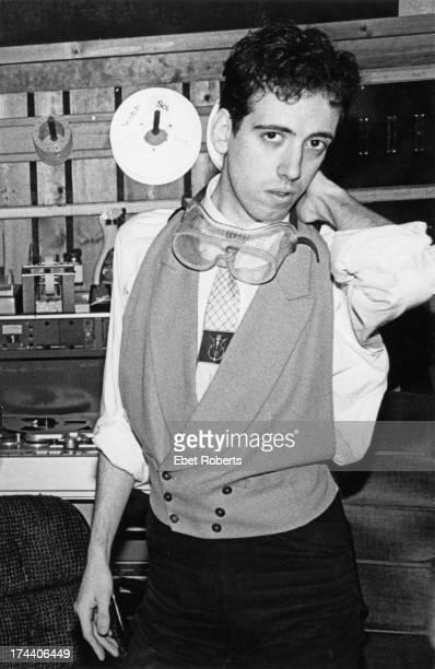 Guitarist Mick Jones, of English punk group The Clash, in a recording studio, 1981.