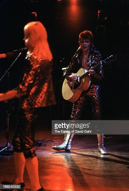 Guitarist Mick Ronson and singer songwriter David Bowie perform at Carnegie Hall on September 28 1972 in New York City New York This show is David...