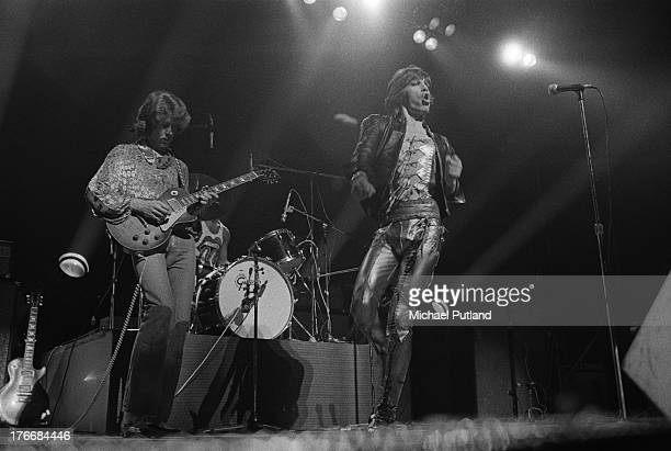 Guitarist Mick Taylor and singer Mick Jagger performing with the Rolling Stones at Wembley Empire Pool, London, 7th September 1973. Drummer Charlie...