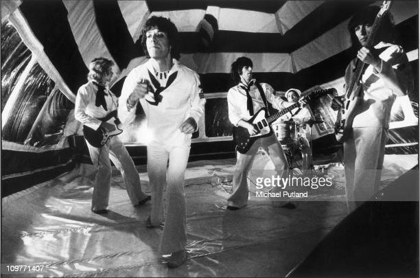 Guitarist Mick Taylor singer Mick Jagger Keith Richards drummer Charlie Watts and bassist Bill Wyman of the Rolling Stones during the production of...
