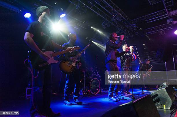 Guitarist Mickey Billingham Drummer Everett Morton Ranking Roger and Ranking Junior of The Beat perform on stage at The Liquid Room on February 15...