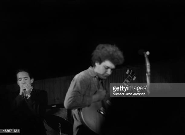 Guitarist Mike Bloomfield and Paul Butterfield of the Butterfield Blues Band perform circa 1966 in New York City New York