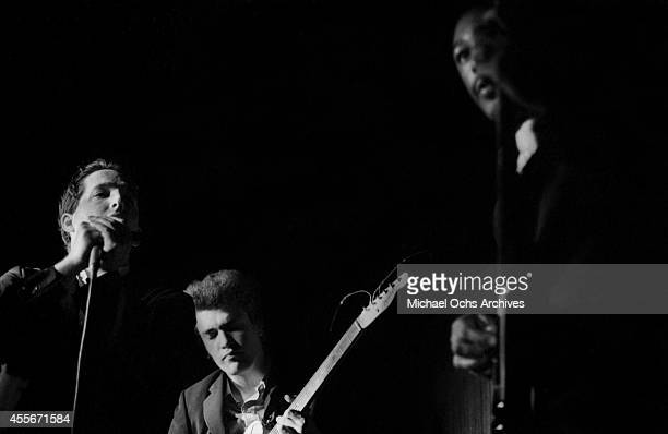 Guitarist Mike Bloomfield Paul Butterfield and bassist Jerome Arnold of the Butterfield Blues Band perform circa 1966 in New York City New York