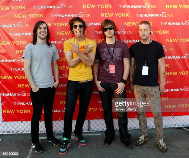 Guitarist Mike Kennerty Singer / Bassist Tyson Ritter Guitarist Nick Wheeler and Drummer Chris Gaylor of the AllAmerican Rejects backstage prior to...