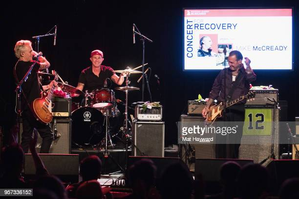 Guitarist Mike McCready of Pearl Jam Chad Smith of Red Hot Chili Peppers and Mike Ness of Social Distortion perform on stage during the MusiCares...
