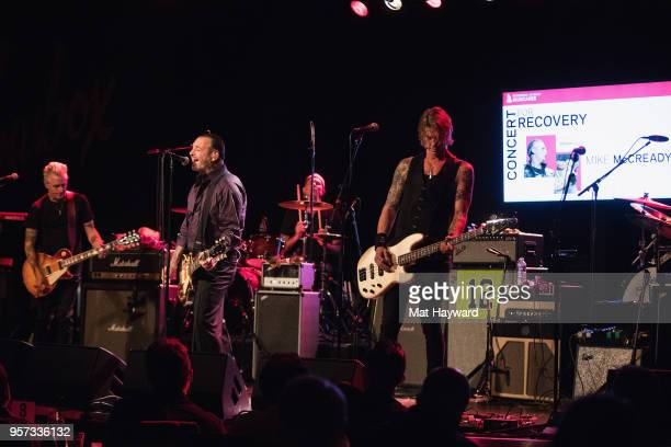Guitarist Mike McCready of Pearl Jam Mike Ness of Social Distortion Chad Smith of Red Hot Chili Peppers and Duff McKagan of Guns and Roses perform on...