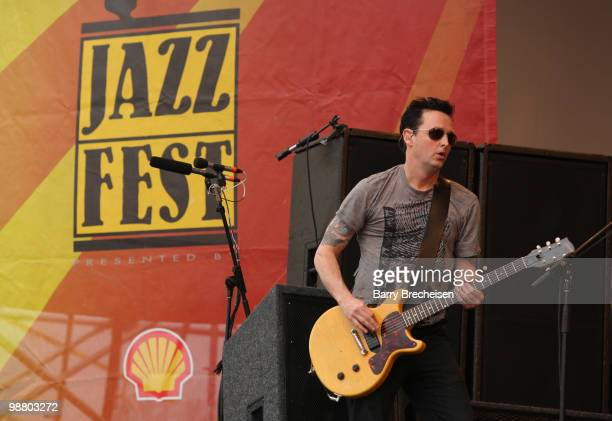 Guitarist Mike McCready of Pearl Jam performs during Day 6 of the 41st annual New Orleans Jazz & Heritage Festival at the Fair Grounds Race Course on...