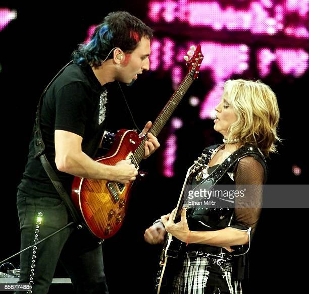 Guitarist Monte Pittman and Madonna perform during the first of two soldout shows at the MGM Grand Garden Arena during her Drowned World Tour...