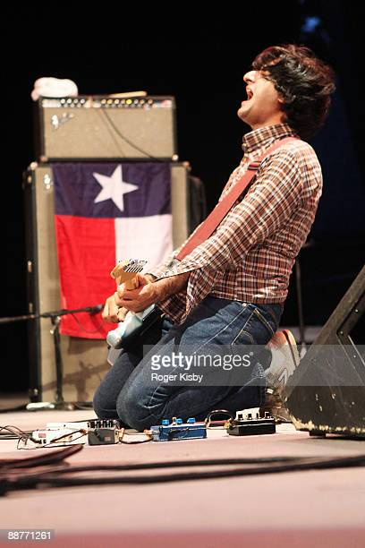 Guitarist Munaf Rayani of Explosions in the Sky performs onstage at Central Park SummerStage on June 30 2009 in New York City