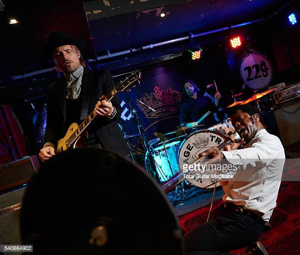Guitarist Nalle Colt and frontman Ty Taylor of American blues rock group Vintage Trouble photographed before a live performance at 229 Venue in...