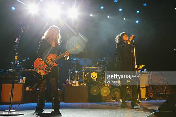 Guitarist Nancy Wilson and vocalist Ann Willson of Heart perform at Bergen Performing Arts Center on April 5 2014 in Englewood New Jersey