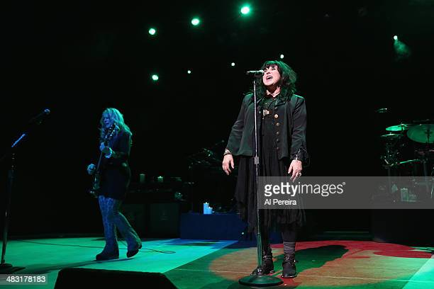 Guitarist Nancy Wilson and Vocalist Ann Wilson and Heart performs at NJ Performing Arts Center on April 6 2014 in Newark New Jersey