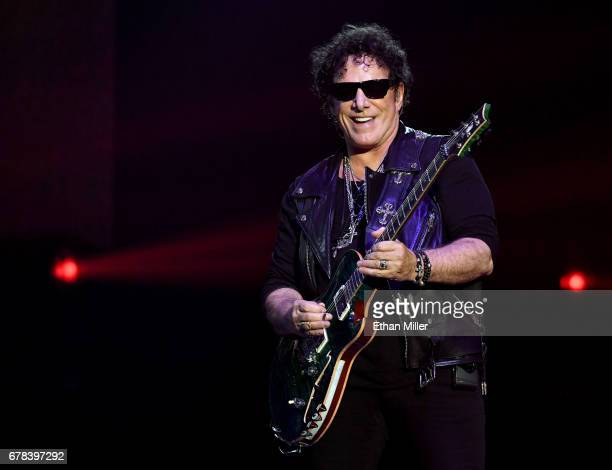 Guitarist Neal Schon of Journey performs during the first night of the band's second nineshow residency at The Joint inside the Hard Rock Hotel...