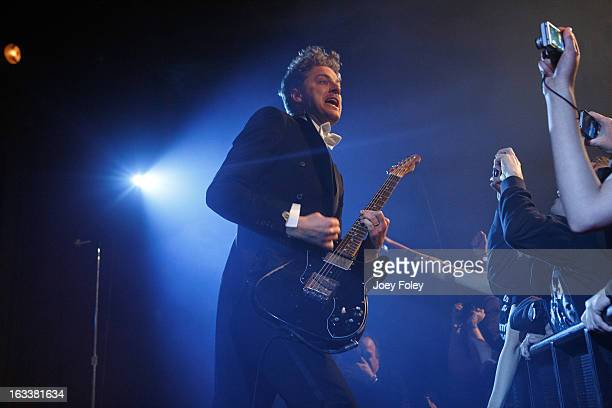 Guitarist Nicholaus Arson of The Hives performs onstage at The Vogue on March 4 2013 in Indianapolis Indiana